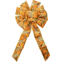"Wired Parkson Fall Leaves Bows (2.5""ribbon~10""Wx20""L) - Alpine Holiday Bows"