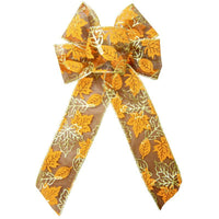 "Wired Parkson Fall Leaves Bows (2.5""ribbon~6""Wx10""L) - Alpine Holiday Bows"