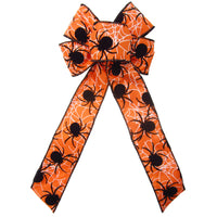 "Wired Halloween Web of Spiders Bow (2.5""ribbon~6""Wx10""L)"