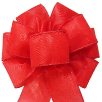 "Wired Gleaming Bright Red Bow (2.5""ribbon~8""Wx16""L) - Alpine Holiday Bows"