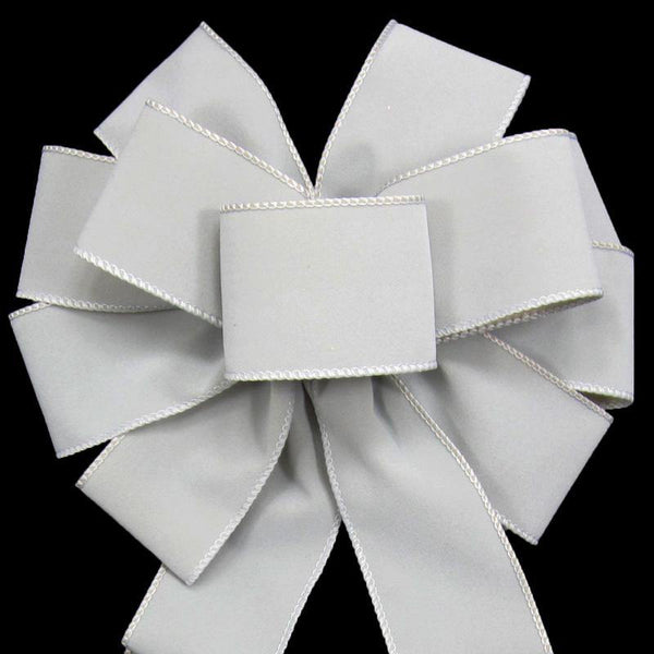 "Wired Indoor Outdoor Pewter Gray Velvet Bow (2.5""ribbon~10""Wx20""L) - Alpine Holiday Bows"