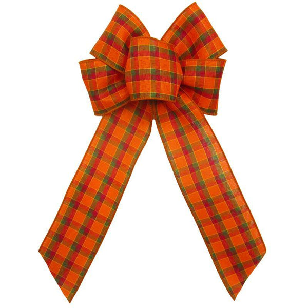 "Wired Harvest Plaid Bows (2.5""ribbon~6""Wx10""L) - Alpine Holiday Bows"