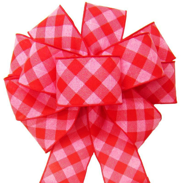 "Wired Pink & Red Diagonal Plaid Bow (2.5""ribbon~10""Wx20""L) - Alpine Holiday Bows"