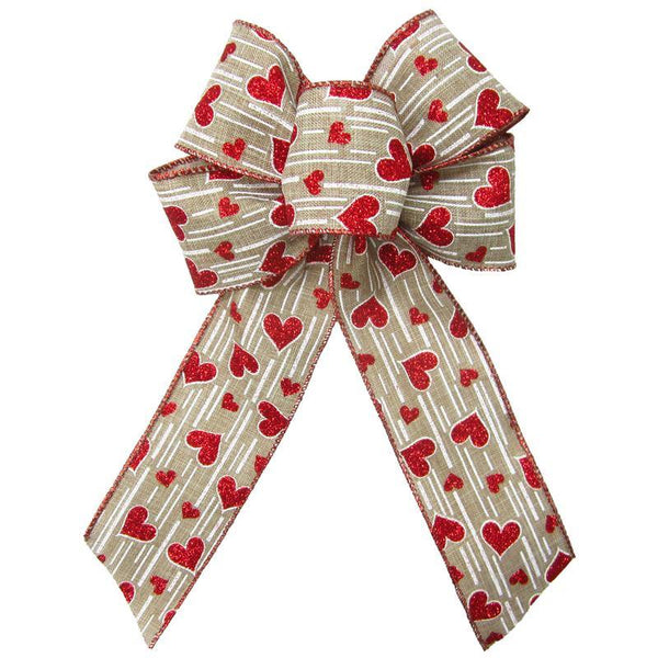 "Wired Sparkling Hearts Natural Bow (2.5""ribbon~6""Wx10""L) - Alpine Holiday Bows"