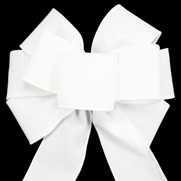 "Wired Indoor Outdoor White Velvet Bow (2.5""ribbon~8""Wx16""L) - Alpine Holiday Bows"
