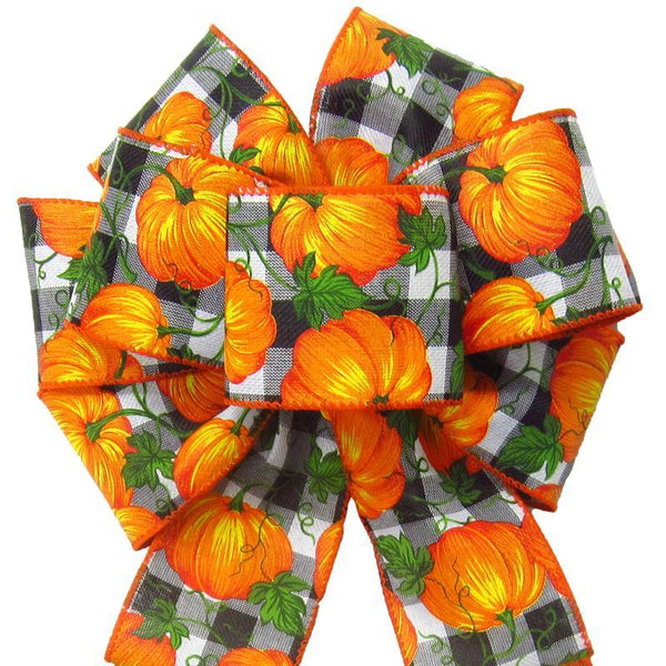 "Wired Buffalo Plaid Pumpkins Bows (2.5""ribbon~8""Wx16""L) - Alpine Holiday Bows"