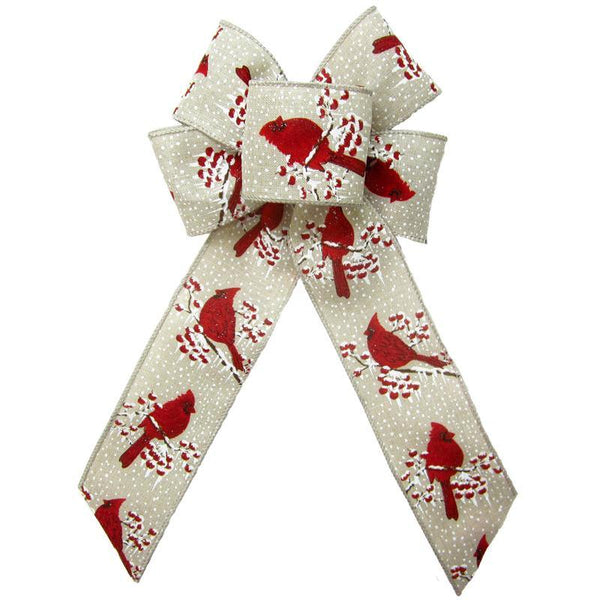 "Wired Red Birds & Berries Natural Bow (2.5""ribbon~6""Wx10""L) - Alpine Holiday Bows"