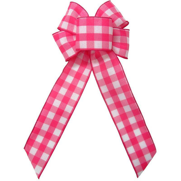 "Wired Buffalo Plaid Pink & White Linen Bows (2.5""ribbon~6""Wx10""L) - Alpine Holiday Bows"