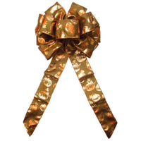 "Wired Bronzed Copper Pumpkins Bows (2.5""ribbon~10""Wx20""L) - Alpine Holiday Bows"