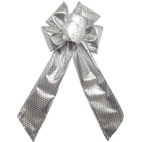 "Wired Sparkling Silver Lame Bow (2.5""ribbon~6""Wx10""L) - Alpine Holiday Bows"