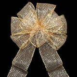 "Wired Outdoor Mesh Gold Bow (2.5""ribbon~8""Wx16""L) - Alpine Holiday Bows"