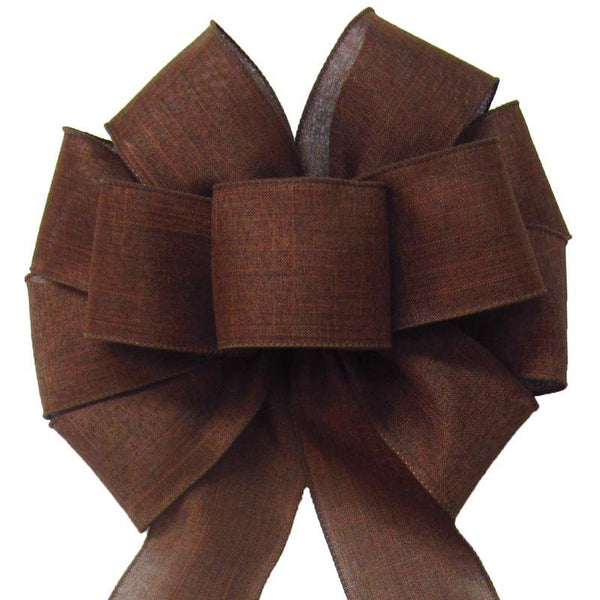 "Wired Brown Linen Bow (2.5""ribbon~10""Wx20""L) - Alpine Holiday Bows"