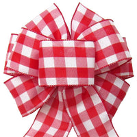 "Wired Buffalo Plaid Red & White Linen Bows (2.5""ribbon~8""Wx16""L) - Alpine Holiday Bows"