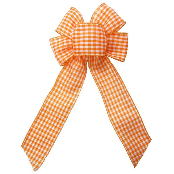 "Wired Gingham Check Orange & White Bow (2.5""ribbon~6""Wx10""L) - Alpine Holiday Bows"