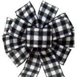 "Wired Buffalo Plaid Black & White Flannel Bow (2.5""ribbon~10""Wx20""L) - Alpine Holiday Bows"
