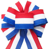 "Wired Patriotic Linen Tri Stripe White Bow (2.5""ribbon~8""Wx16""L) - Alpine Holiday Bows"