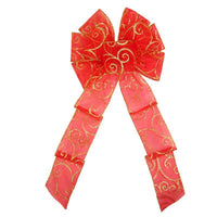 "Christmas Bows - Wired Red & Gold Sparkle Swirl Bow (2.5""ribbon~8""Wx16""L)"