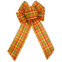 "Wired Cider Plaid Bows (2.5""ribbon~6""Wx10""L) - Alpine Holiday Bows"