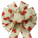 "Wired Red & Gold Christmas Ornaments Linen Bow (2.5""ribbon~10""Wx20""L) - Alpine Holiday Bows"