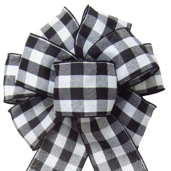 "Wired Buffalo Plaid Black & White Linen Bows (2.5""ribbon~8""Wx16""L) - Alpine Holiday Bows"