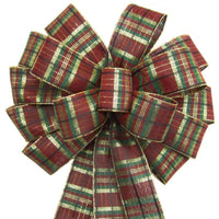 "Wired Burgundy Plaid Bow (2.5""ribbon~14""Wx24""L) - Alpine Holiday Bows"