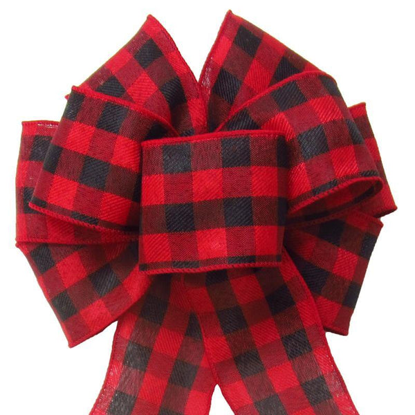 "Wired Buffalo Plaid Red & Black Linen Bows (2.5""ribbon~8""Wx16""L) - Alpine Holiday Bows"