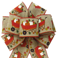 "Wired Natural Harvest Cart of Pumpkins Bows (2.5""ribbon~8""Wx16""L) - Alpine Holiday Bows"