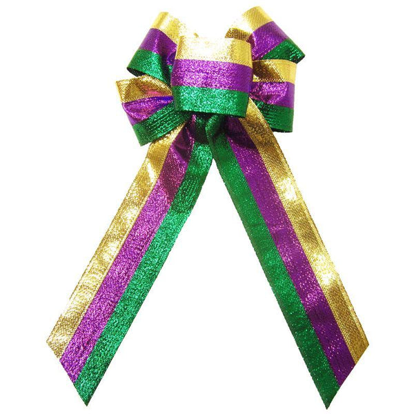 "Wired Mardi Gras Shimmering Stripes Bow (2.5""ribbon~6""Wx10""L) - Alpine Holiday Bows"