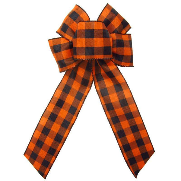 "Wired Buffalo Plaid Black & Orange Linen Bows (2.5""ribbon~6""Wx10""L) - Alpine Holiday Bows"