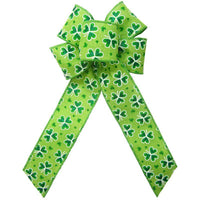 "Wired St Patrick Lucky Shamrock Bow (2.5""ribbon~6""Wx10""L) - Alpine Holiday Bows"