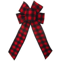 "Wired Buffalo Plaid Red & Black Flannel Bow (2.5""ribbon~6""Wx10""L) - Alpine Holiday Bows"