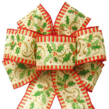 "Wired Holly Garland Natural Bow (2.5""ribbon~8""Wx16""L) - Alpine Holiday Bows"