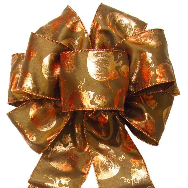 "Wired Bronzed Copper Pumpkins Bows (2.5""ribbon~8""Wx16""L) - Alpine Holiday Bows"