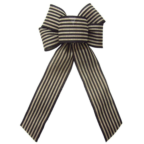 "Wired Cabana Stripes Black & Natural Bow (2.5""ribbon~6""Wx10""L) - Alpine Holiday Bows"