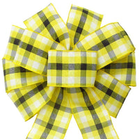 "Wired Springtime Plaid Yellow Linen Bow (2.5""ribbon~10""Wx20""L) - Alpine Holiday Bows"