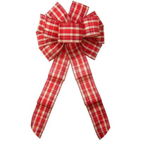 "Christmas Bows - Wired Fireside Plaid Bow (2.5""ribbon~10""Wx20""L)"