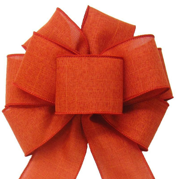 "Wired Burnt Orange Linen Bow (2.5""ribbon~8""Wx16""L) - Alpine Holiday Bows"