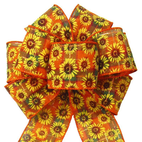 "Wired Autumn Plaid Sunflowers Bows (2.5""ribbon~8""Wx16""L) - Alpine Holiday Bows"