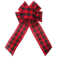 "Wired Buffalo Plaid Red & Black Linen Bows (2.5""ribbon~6""Wx10""L) - Alpine Holiday Bows"
