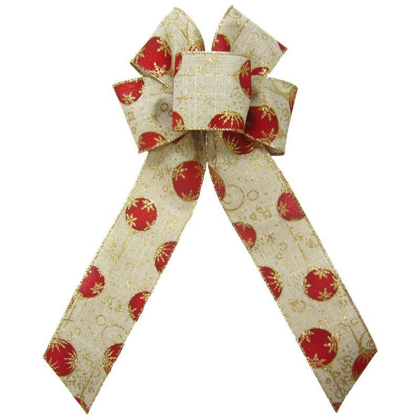 "Wired Red & Gold Christmas Ornaments Linen Bow (2.5""ribbon~6""Wx10""L) - Alpine Holiday Bows"