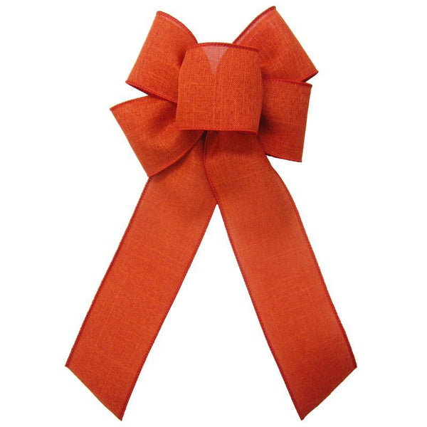"Wired Burnt Orange Linen Bow (2.5""ribbon~6""Wx10""L) - Alpine Holiday Bows"