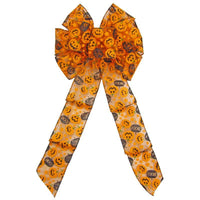 "Wired Halloween Pumpkins Bow (2.5""ribbon~8""Wx16""L) - Alpine Holiday Bows"