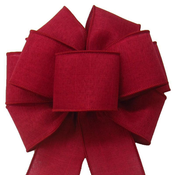"Wired Burgundy Linen Bow (2.5""ribbon~8""Wx16""L) - Alpine Holiday Bows"