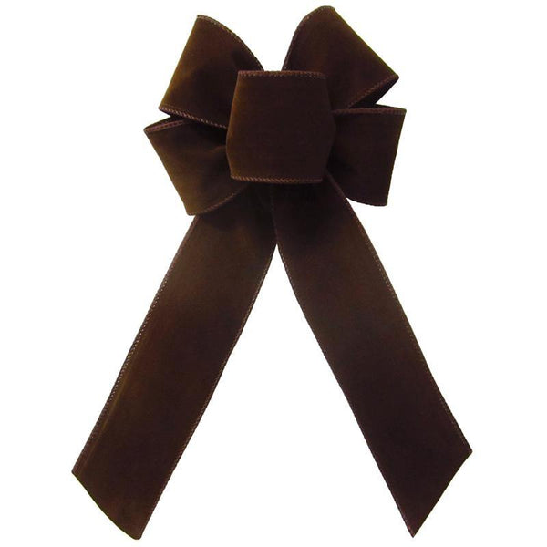 "Wired Indoor Outdoor Brown Velvet Bow (2.5""ribbon~6""Wx10""L) - Alpine Holiday Bows"