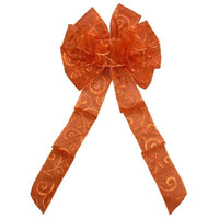 "Fall Bows - Wired Copper Sparkle Swirl Bow (2.5""ribbon~10""Wx20""L) - Alpine Holiday Bows"