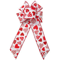 "Wired Valentine Candy Hearts Bow (2.5""ribbon~6""Wx10""L) - Alpine Holiday Bows"