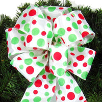 "Wired Red & Green Dots Bow (2.5""ribbon~8""Wx16""L) - Alpine Holiday Bows"