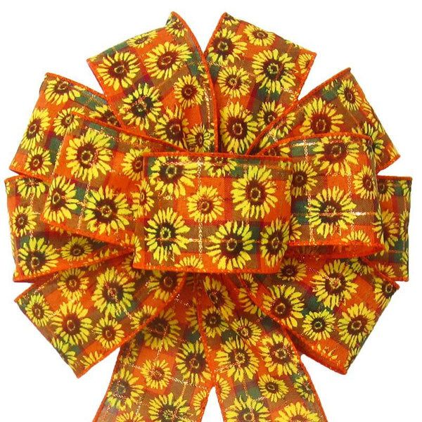 "Wired Autumn Plaid Sunflowers Bows (2.5""ribbon~10""Wx20""L) - Alpine Holiday Bows"