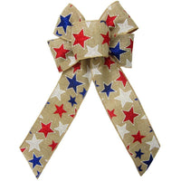 "Wired Patriotic Stars Natural Bow (2.5""ribbon~6""Wx10""L) - Alpine Holiday Bows"