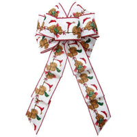 "Wired Teddy Bear Blizzard Bow (2.5""ribbon~8""Wx16""L) - Alpine Holiday Bows"